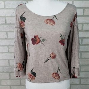 Lucky Brand Floral Top Bell Sleeves Sm